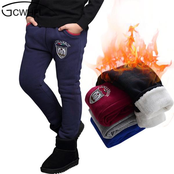 Yeni 2018 Polar Ile Çocuk Giyim Boys Kış Pantolon Sıcak Uzun Pantolon Boys Kalınlaşma Pantolon Çocuklar Için Giysi 5-14 Yıl