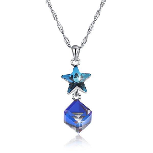 Yeni varış Popüler 925 Ayar Gümüş Avusturya Kristal Yıldız Kolye Kolye güzel Takı yapımı kadınlar hediyeler için ücretsiz teslimat SVN611
