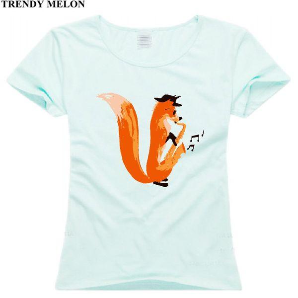 Trendy Melon Animal Printed T shirt Women Jazzy Fox Tshirt Cotton Tops Casual Short Sleeve Tees Hipster WAA08