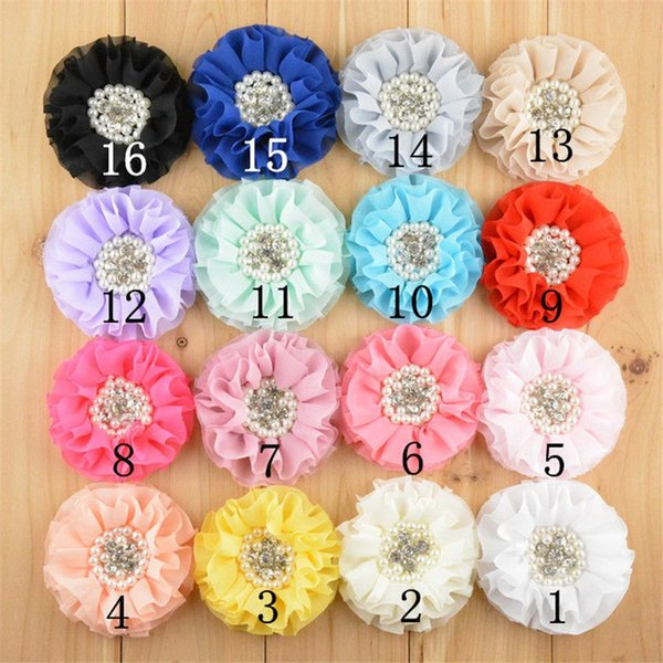16 Color U Pick 3.15 Inch Large Beaded Chiffon Fabric Flowers With Pearl Rhinestone Hair Accessories Diy Supply Headwear 50pcs/Lot