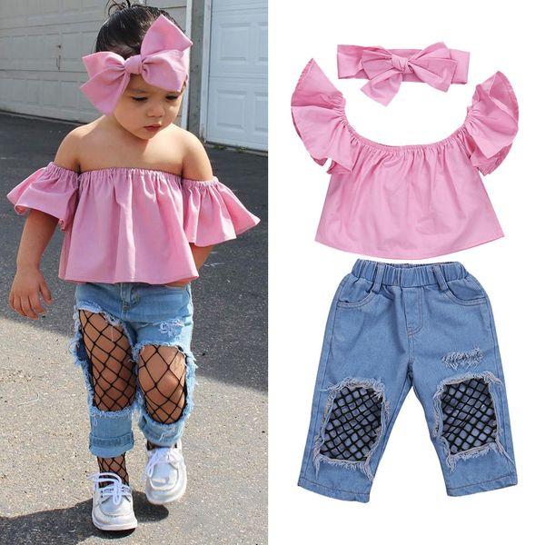 2017 Hot Selling 3Pcs Baby Girl Clothing Set Kids Bebes Girls Toddler Off Shoulder Tops Denim Fishnet Pants Outfits Set Clothes