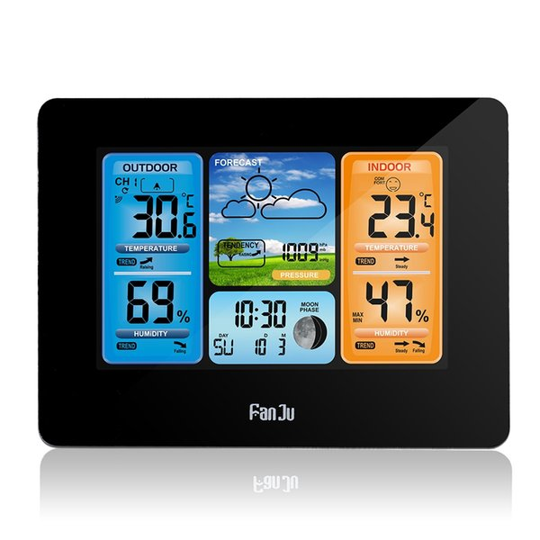 FanJu LED Digital Alarm Clock Weather Station With Temperature Humidity Display Snooze Function Calendar Moon Phase Free Shipping NB