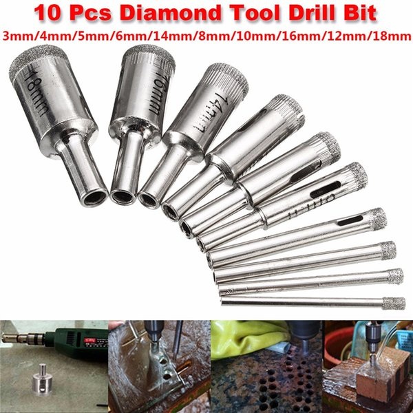 10 PCS 3-18mm Diamond Coated Core Hole Saw Drill Bit Set Tools For Glass Marble