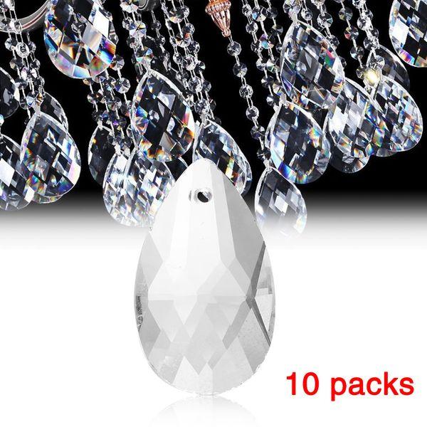 10 Teile / paket Klarglas Tropfen Kronleuchter Pendelleuchte Lampe Teil Hängen Prismen DIY Zubehör Kristall Anhänger Teile