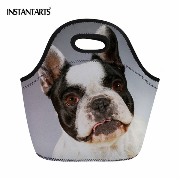 INSTANTARTS Portable Outdoor Picnic Bags for Women 3D Dog Printed Insulated Lunch Bags Kids Hiking Camping Tote Handbags