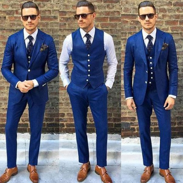 Newest Royal Blue Slim Fit Men's Tuxedos Notched Lapel Two Button Three Pieces Men Suit Sets (Jacket+Vest+Pants)