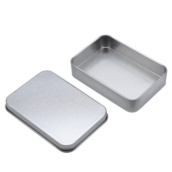 Plain silver tin box 88mm*60mm*18mm rectangle tea candy business card usb storage boxes case sundry organizer