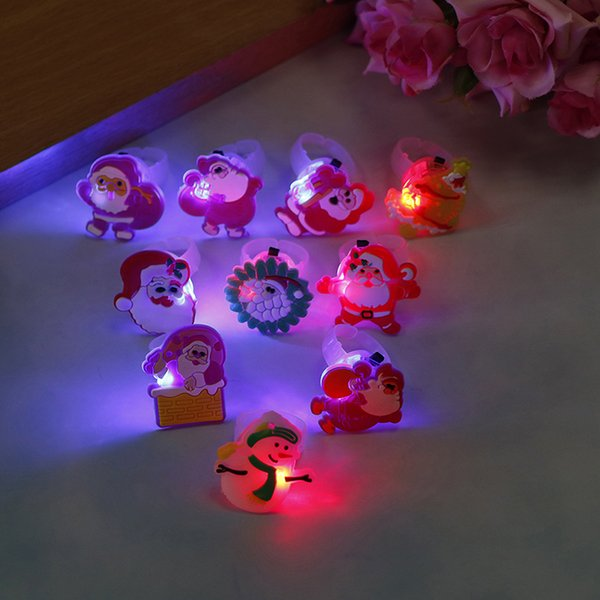 10pcs/lot Cartoon LED Flashing Light Up Glowing Finger Ring Toys Christmas New Year Party Favor Gifts Toys for Children