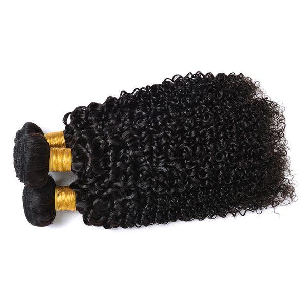 Capelli vergini brasiliani 3 bundles 10a non trasformati brasiliani capelli ricci crespi grande lunghezza remy tessitura dei capelli umani nero naturale