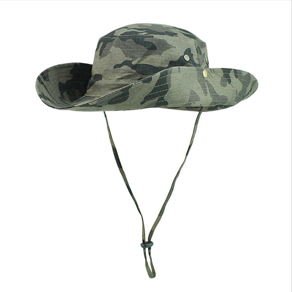 Camouflage visor hat outdoor sunscreen fisherman hat UV protection sun cap fishing jungle hat color can be mixed batch
