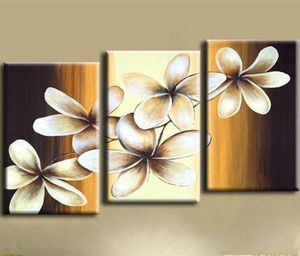 Decoração de casa Pintados À Mão Abstrata Grande Flor Pintura A Óleo 3 Peças Da Arte Da Parede Pictures Define Handmade Floral Pinturas em Tela