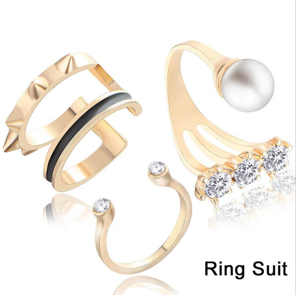 Individual rivet 3 three-piece set Ring with rhinestone artificial pearl index finger open ring joint ring female