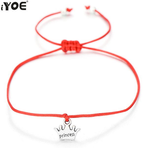 IYOE Fashion Tiny Cute Crown Bracelet Bangle For Women Silver Color Letter Priness Charm Kids Red String Rope Bracelets Hot Sale