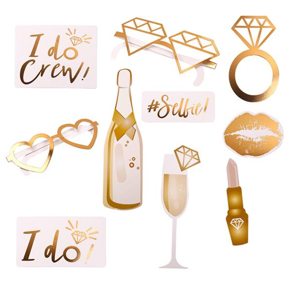 10pcs/set Gold Wedding Photo Booth Props Hen Party Team Bride To Be Photobooth Bachelorette Party Wedding Decoration Supplies