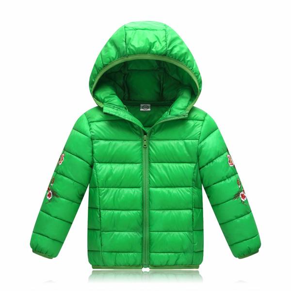 Invierno bordado niños niñas chaqueta prendas de vestir exteriores cálido caramelo con capucha niños blanco pato abajo chaqueta niños algodón acolchado chaquetas
