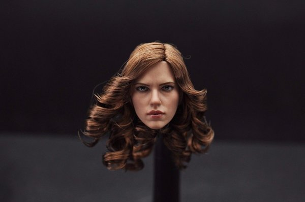 "1:6 Scale Scarlett Johansson Black Widow Head Sculpt With Brown Curly Hair Female Headplay Model For 12"" Female Figure"