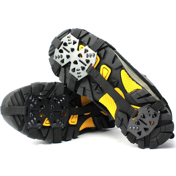 1 Pair 24 Stud Universal Crampons Ice Non-Slip Snow Shoes Spikes Grips Hiking Climbing Walking Anti Slip Shoes Cover Cleats