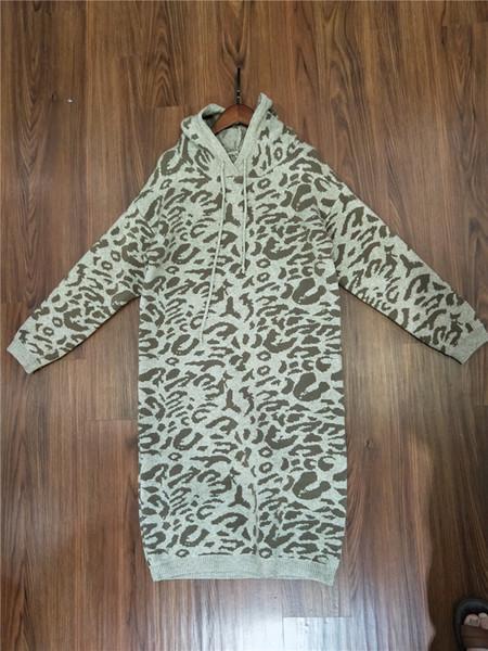 Rwomen Professional Dress 2018 Autumn And Winter New Pattern Korean Version Easy Leopard Print Even Cap Over The Knee Paragraph Head