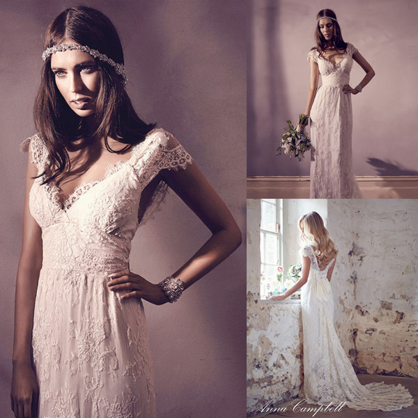 best selling Fashion Softly Ivory Lace Applique Romantic Bridal Dress Lace Cap Sleeve a-Line Wedding Dress With Silk Ties Back