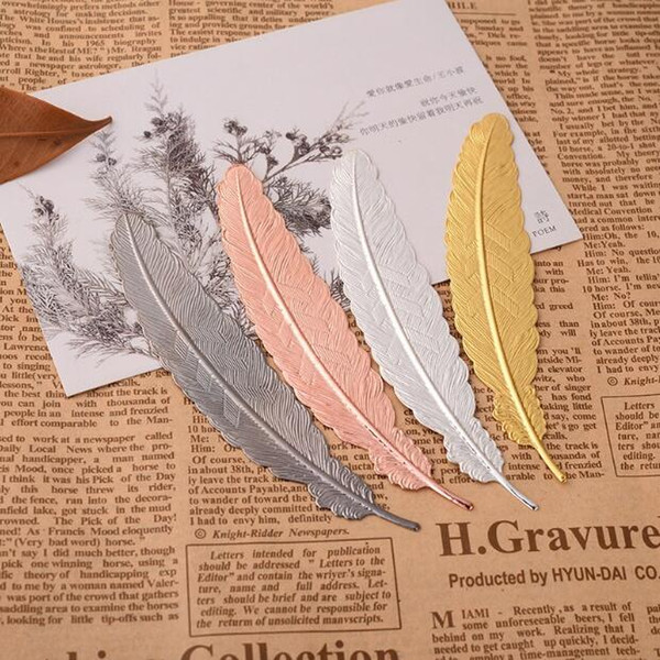 best selling 7 Colors Metal Feather Bookmark Document Book Mark Label Golden Silver Rose Gold Bookmark Office School Supplies