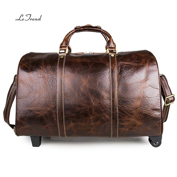 Genuine leather top layer beef leather bar suitcase pull rod bag Restoring ancient ways luggage travel man fashion business case