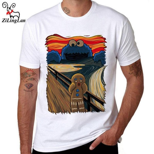 The Scream Funny Printed Tee White Cotton Men T-shirts Short Sleeve Casual Shirt