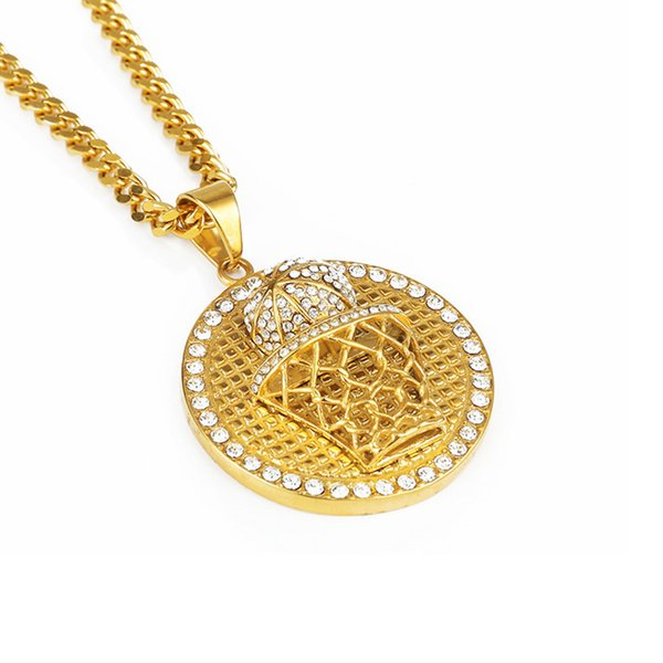 New Design Hip Hop Jewelry Fashion Men Round Basketball Pendant Necklace Crystal Men Punk Necklace With Chain Long 60cm