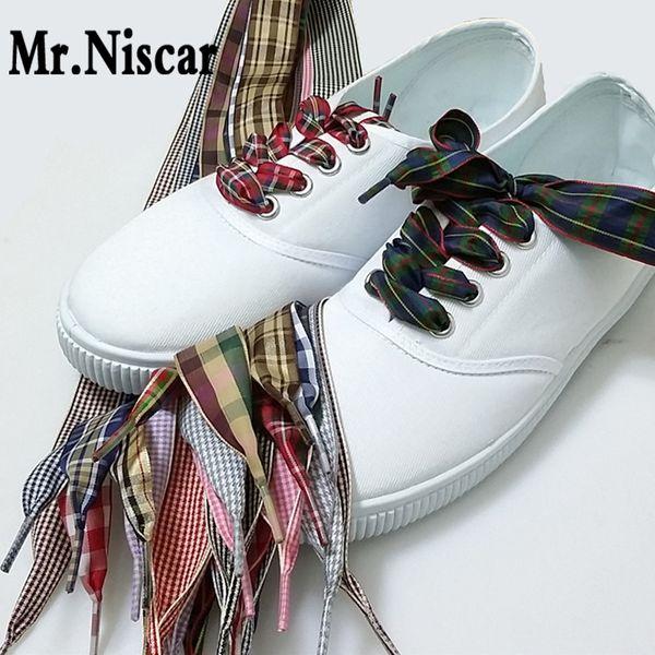 1 Pair Wide 2.5cm Plaid Shoelaces for Women Canvas Leather Shoes Flat Ribbon Shoelace Flat Polyester Shoe Laces British Style