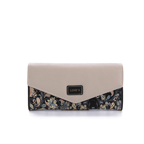 DUDINI Hot Sale Envelope Women Wallet Hit Color 3Fold Flowers Printing 5Colors PU Leather Wallet Long Ladies Clutch Coin Purse