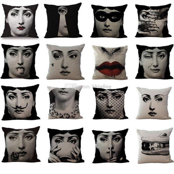 19 Styles Fornasetti Portrait Pillow Case For Sofa Car Cushion Girl Art Pillow Cover Flax Pillowslip Bedding 45*45cm C5358