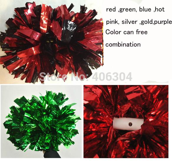 Not fading 100g 38cm Cheering pompom with 6cm handle,Metallic Pom Pom red pink green blue gold silver ballroom costume