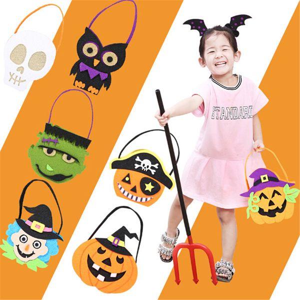 1* Pumpkin Witch Skull Decorative Bag Kids Halloween Props Tote Candy Bag Non-woven Felt Fabric
