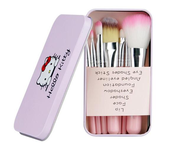 2018 neueste Schwarz Hallo Kitty 7 Stücke Make-Up Pinsel Set Mini Größe Professionelle Gesichtskosmetik Make-Up Pinsel Set Mit Metall Box