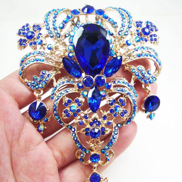 "vintage 5.04"" Gold Tone Vintage Blue Flower Drop Pendant Pin Rhinestone Crystal pins"