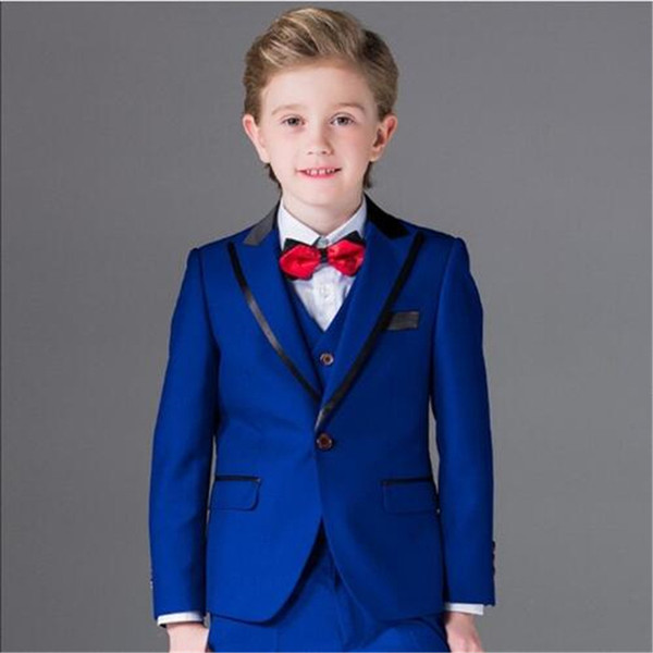 New Custom Made Blue Boys Suits For Weddings Kids 3pieces(Jacket+Pants+Vest+Tie) Fashion Prom Suits Costume Homme Child Blazer