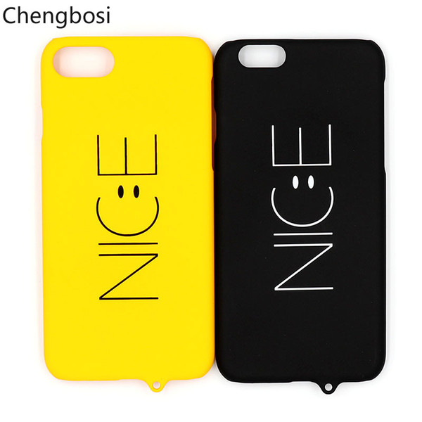 wholesale dealer a6cef 0ddad Black Yellow Phone Couples Cases For IPhone 6 7 8 Plus Cartoon Cute Smile  Nice Face Hard PC Back Cover For IPhone 8 6S Plus Cell Phone Wallet Case ...