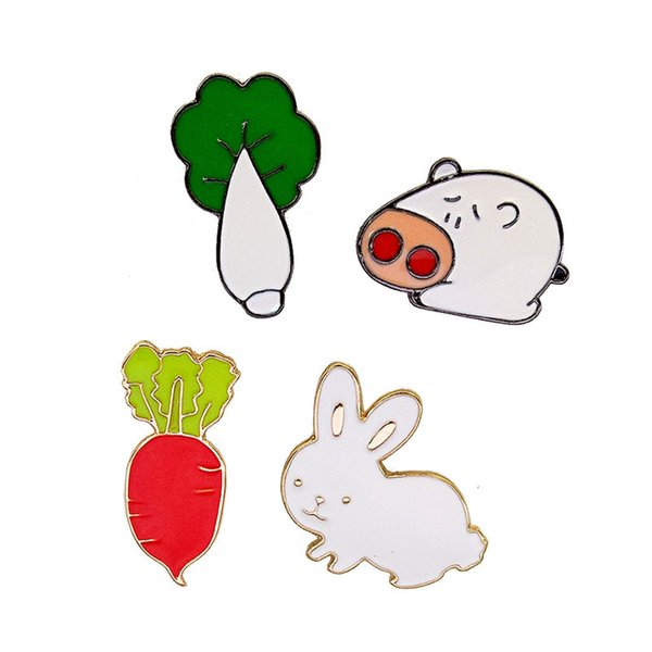Wholesale Fashion Gift Pin Colorful Rabbit Cartoon Radish Pins Cabbage Brooches Pig Pins Jewelry Brooches for Men Women Free Shipping