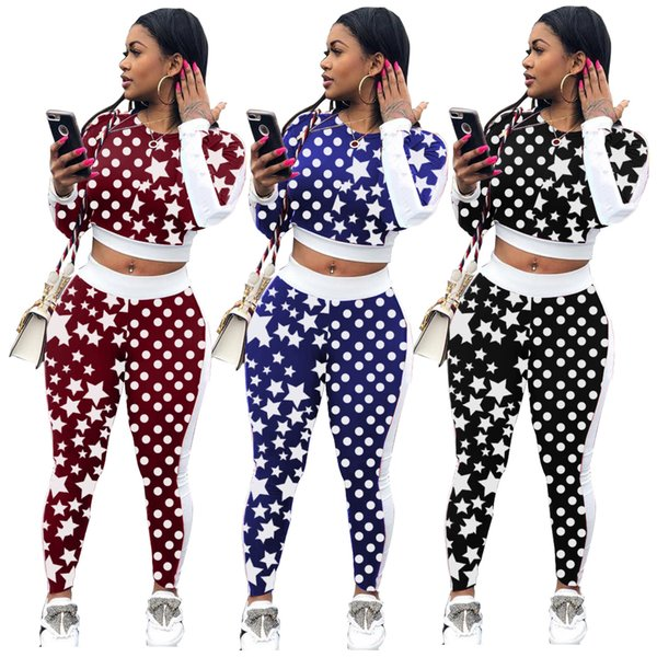 Women's Fashion Long Sleeve Dot Star Printed Tops + Skinny Long Pants 2 pieces Set Lady Casual Design Beach Overall Outfits