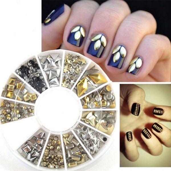 240 UNIDS Nail Art Remaches Mixtos de Acrílico Rhinestone Nail Art Decorations 3D Pernos Prisioneros de Metal Remache Láser Gemas de Resina Gelatina