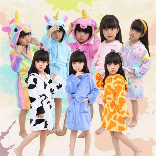 Newest children's bathrobe flannel, Tianma bathing pajamas cartoon pajamas, animal hooded children's home dress gowns home clothing I248