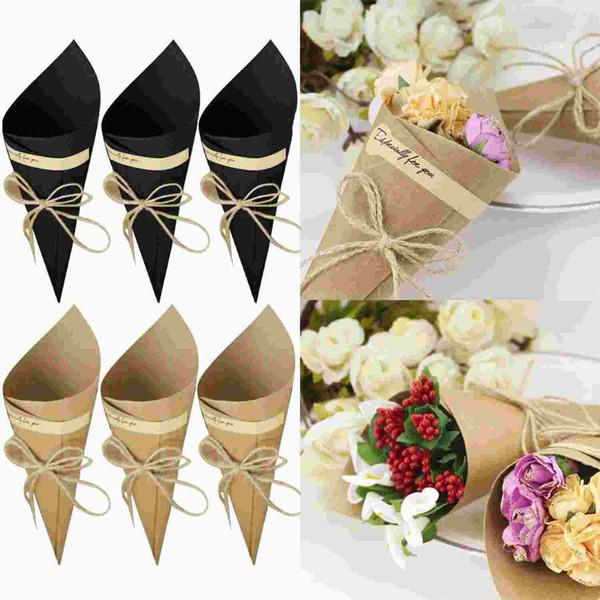 Bevigac 50Pcs Brown / Black Wedding Favors Kraft Paper Cones Candy Box Ice Cream Flower Holder DIY Wedding Table Decor Party