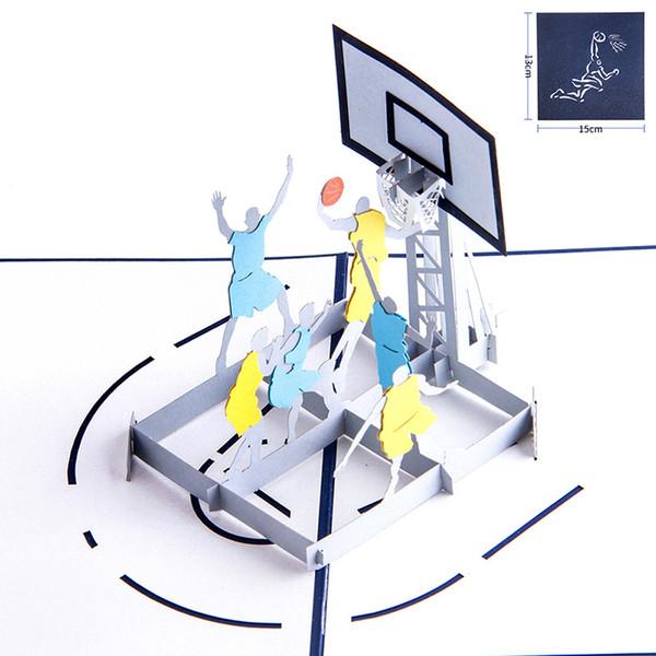 Compre 3d Hecho A Mano Tallado Fresco Baloncesto Dunk Papel Invitación Tarjetas De Felicitación Postales Fans Creativos Niños Regalo De Cumpleaños