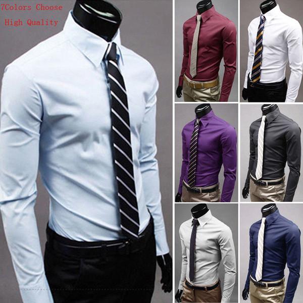 Compre Elegante Camisa De Vestir De Es Para Hombres De Lujo Camisas Slim Fit Manga Larga Formal Hot Plus Size 3xl A 4404 Del Silan Dhgatecom
