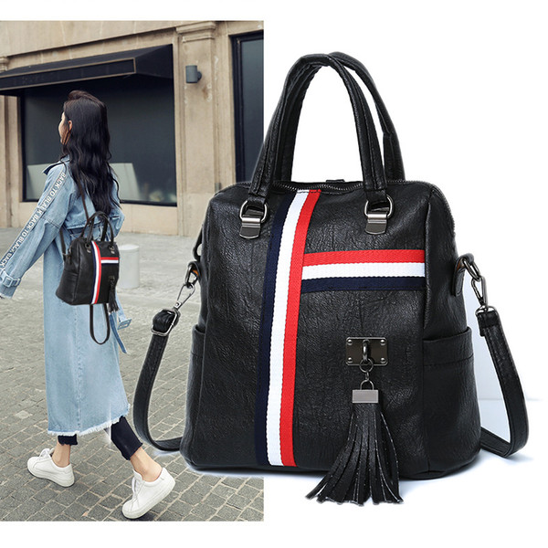 2019 New Fashion Women School Bags Zipper stitching simple Men Backpack designer PU Leather Travel Bags mochila feminina