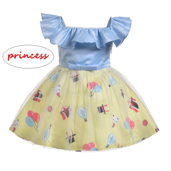 INS девушка мультфильм платье дети лето с коротким рукавом лоскутное платье дети воздушный шар животных печати бальное платье
