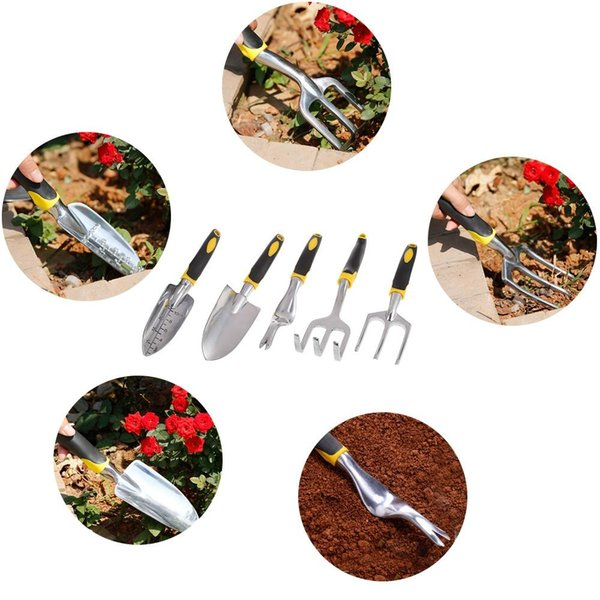 Potted Shovel Rake 5 Pcs Set Garden Hand Tool Weeder Cultivator Scale Trowel Head Silicone Handle Mini Gardening Tool Free Shipping VB