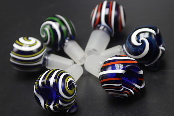 Colorful Pattern Heady Glass Bowl 14mm 18mm Male Female Bowl For Glass Bubbler and Ash Catcher Bong Bowls For Smoking