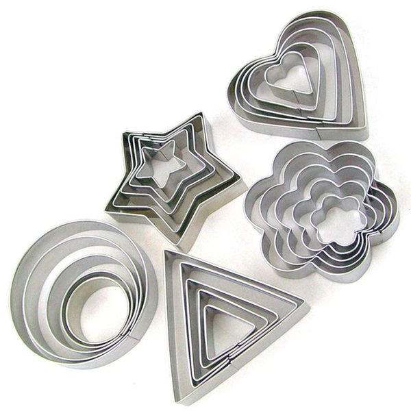 5 Pcs/set Stainless Steel Fondant Cake Baking Mould Round/ Heart /Flower/ Star Shape Cookie Biscuit Cutter Decorating Moulds AA