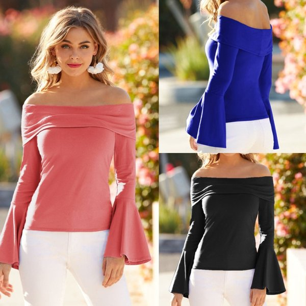 2018 Europe and the United States autumn hot women's slash neck trumpet sleeves long sleeve shirt t-shirt 4 colors