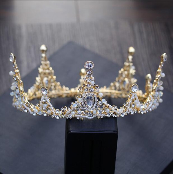2018 Crown Gold Bridal Wedding Tiaras Crowns Hair Accessories For Wedding Quinceanera Tiaras Crystals Princess Headpieces Cheap